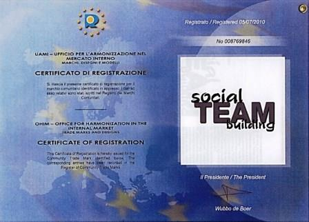 Certificato registrazione marchio Social Team Building® di Made In Team